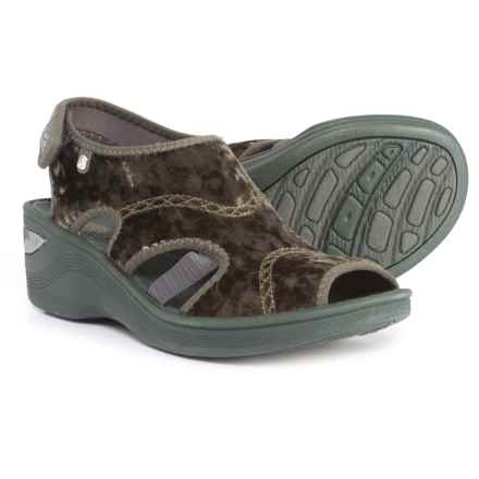 Bzees Drama Wedge Sandals (For Women) in Dark Green Crushed Velvet - Closeouts