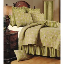 C & F Enterprises Berkeley Stripe Quilt - Twin, Reversible Scallop Edge in Green - Closeouts