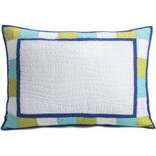 C & F Enterprises Cyan Patchwork Pillow Sham - Standard in Cyan - Closeouts