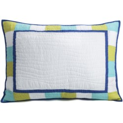 C & F Enterprises Cyan Patchwork Pillow Sham - Standard in Cyan