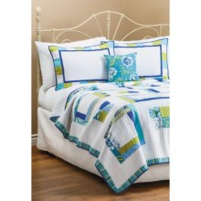 C & F Enterprises Cyan Square Patchwork Quilt - Full-Queen in Cyan - Closeouts