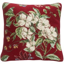 "C & F Enterprises Dogwood Needlepoint Decor Pillow - 14x14"" in Red - Closeouts"