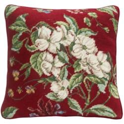 "C & F Enterprises Dogwood Needlepoint Decor Pillow - 14x14"" in Red"