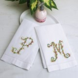 C & F Enterprises Floral Monogram Guest Towel