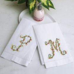 C & F Enterprises Floral Monogram Guest Towel in White