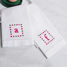 C & F Enterprises Polka-Dot Monogram Guest Towel in White - Closeouts
