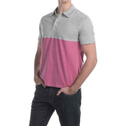 C89men Cotton Color-Block Polo Shirt - Short Sleeve (For Men) in Cayenne Heather - Closeouts