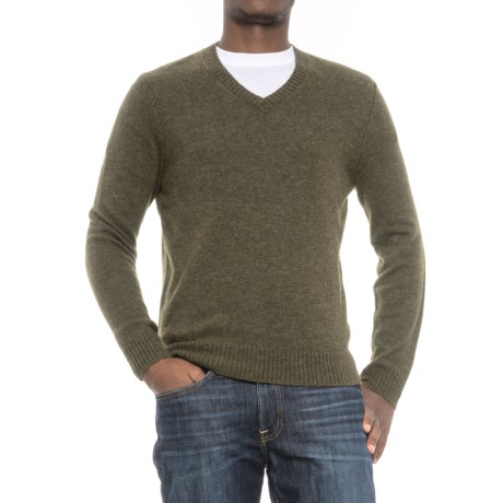 C89men Jersey Stitch Wool Sweater - Wool Blend, V-Neck (For Men) in Loden