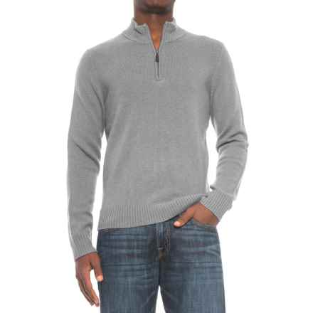 C89Men Jersey Stitch Wool Sweater - Zip Neck (For Men) in Flannel - Closeouts