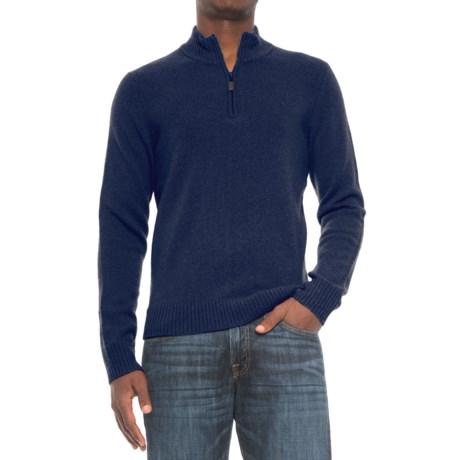 C89Men Jersey Stitch Wool Sweater - Zip Neck (For Men) in Navy