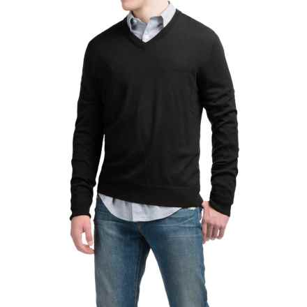 C89men Lightweight Merino Wool Sweater - V-Neck (For Men) in Black - Closeouts