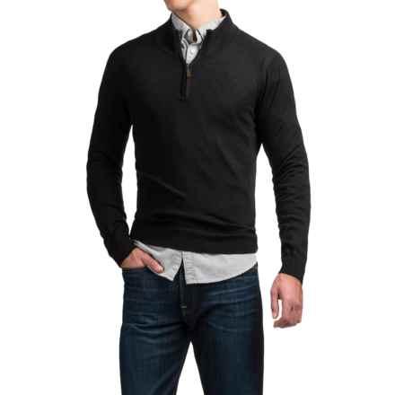 C89men Merino Wool Sweater - Zip Neck (For Men) in Black - Overstock
