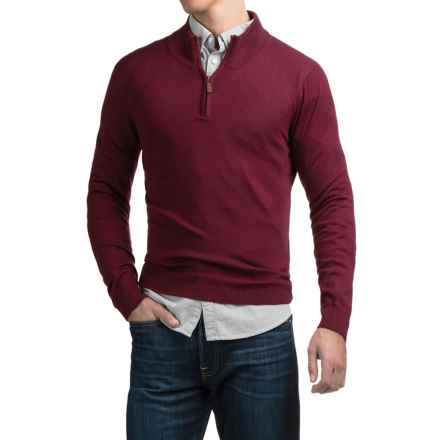 C89men Merino Wool Sweater - Zip Neck (For Men) in Burgundy - Overstock