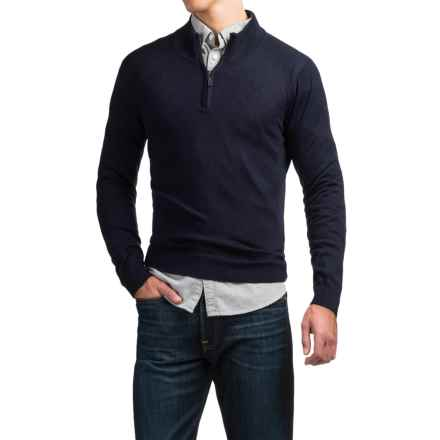C89men Merino Wool Sweater - Zip Neck (For Men) in Navy - Overstock