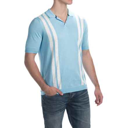 C89men Vertical Retro Polo Shirt - Brushed Cotton, Vertical Stripe (For Men) in Sea Combo - Closeouts