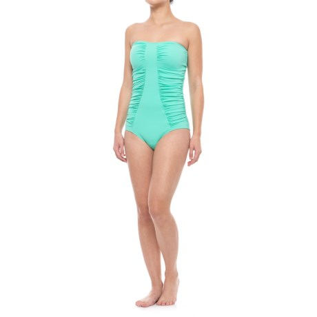 Cabana Life Bandeau One-Piece Swimsuit - UPF 50+, Molded Cups (For Women) in Seafoam