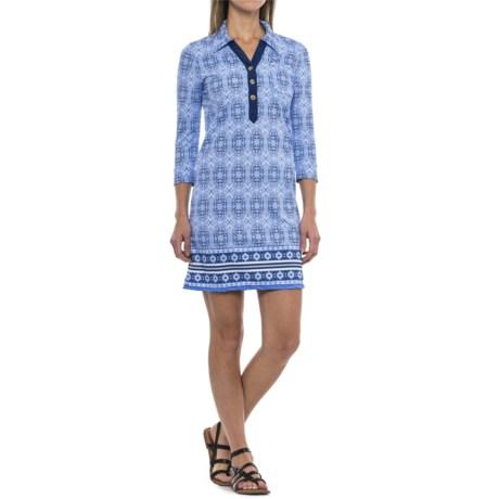 Cabana Life Camper Dress - UPF 50+, 3/4 Sleeve (For Women) in Blue