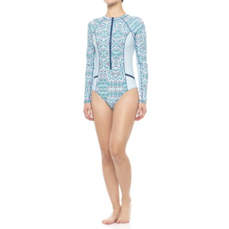 Cabana Life One-Piece Swimsuit - UPF 50+, Long Sleeve (For Women) in Bali Seas