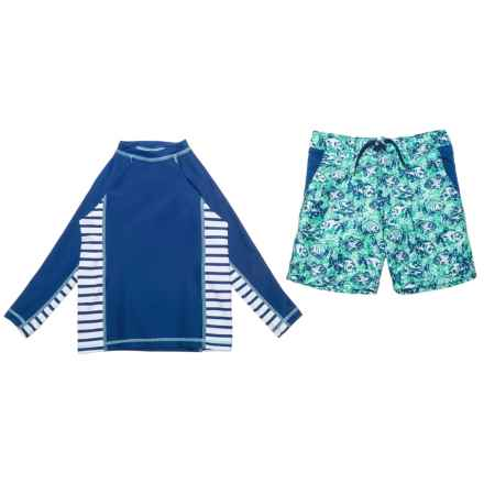 Cabana Life Rash Guard and Boardshorts Set - UPF 50+, Long Sleeve (For Little Boys) in Blue Piranhas - Closeouts
