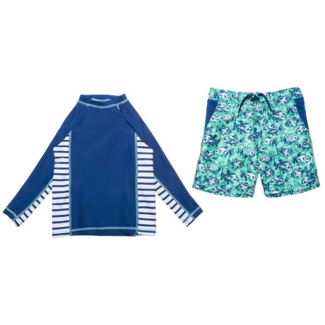 Cabana Life Rash Guard and Boardshorts Set - UPF 50+, Long Sleeve (For Little Boys) in Blue Piranhas