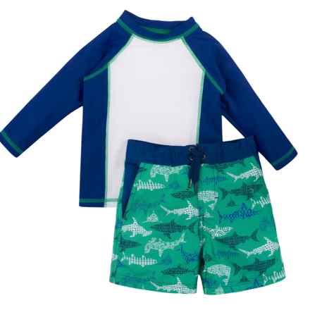 Cabana Life Rash Guard and Boardshorts Set - UPF 50+, Long Sleeve (For Toddler Boys) in Blue Shark - Closeouts