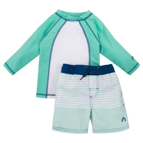 Cabana Life Rash Guard and Swim Trunks Set - Long Sleeve (For Big Boys) in Nautical Stripe