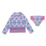 Cabana Life Rash Guard Set - UPF 50+, Brief Bottoms, Long Sleeve (For Toddler Girls)