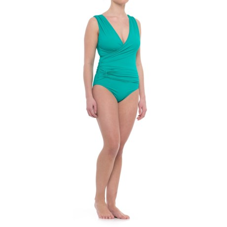 Cabana Life Ruched Wrap One-Piece Swimsuit - UPF 50+, Molded Cups (For Women) in Teal