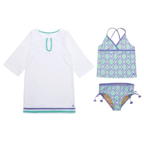 Cabana Life Tankini and Terry Cover-Up Set - UPF 50, 3/4 Sleeve (For Big Girls) in Cabana Coast