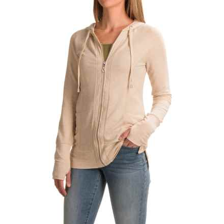 Cable & Gauge Baby French Terry Hoodie (For Women) in Heather Oatmeal - Closeouts