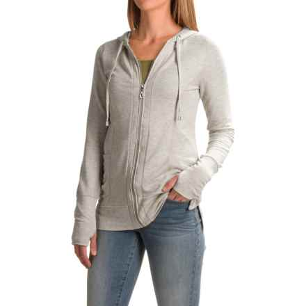 Cable & Gauge Baby French Terry Hoodie (For Women) in New Light Heather Grey - Closeouts