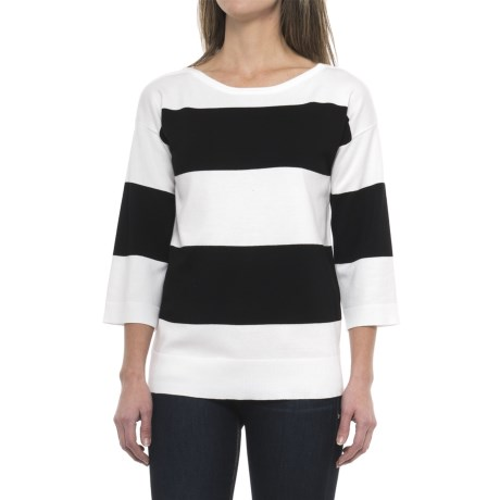 Cable & Gauge Boat Neck Shirt - 3/4 Sleeve (For Women) in Ivory/Black