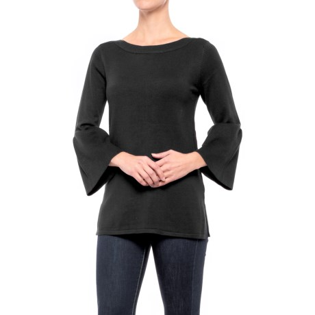 Cable & Gauge Boat Neck Tunic Shirt - 3/4 Sleeve (For Women) in Black