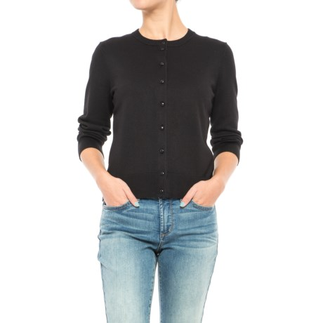 Cable & Gauge Buttoned Cardigan Sweater - 3/4 Sleeve (For Women)
