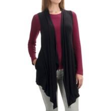 Cable & Gauge Cascade Vest - Open Front (For Women) in Black - Overstock
