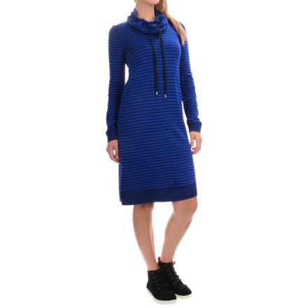 Cable & Gauge Cowl Neck Dress - Long Sleeve (For Women) in Autumn Blue/Black Stripe - Overstock