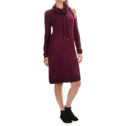 Cable & Gauge Cowl Neck Dress - Long Sleeve (For Women) in Cabernet/Black Stripe - Overstock