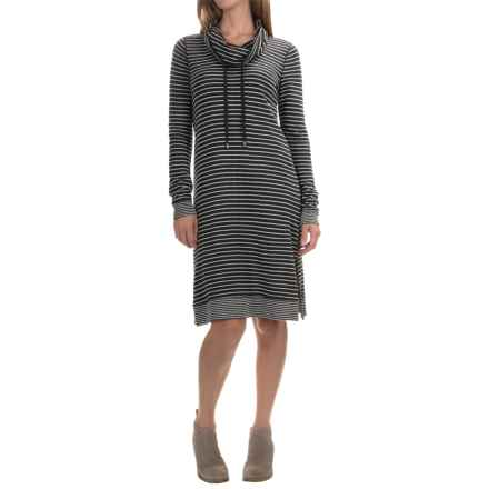 Cable & Gauge Cowl Neck Dress - Long Sleeve (For Women) in Charcoal Grey/Ivory Stripe - Overstock