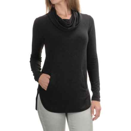 Cable & Gauge Cowl Neck Shirt - Long Sleeve (For Women) in Heather Charcoal Grey - Overstock