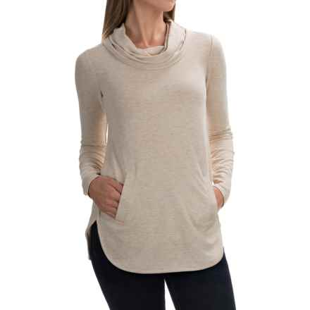 Cable & Gauge Cowl Neck Shirt - Long Sleeve (For Women) in Heather Oatmeal - Overstock