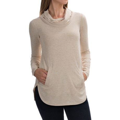 Cable & Gauge Cowl Neck Shirt - Long Sleeve (For Women) in Heather Oatmeal
