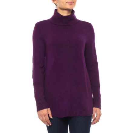 Cable & Gauge Cozy Round Hem Turtleneck Sweater (For Women) in Aubergine - Closeouts