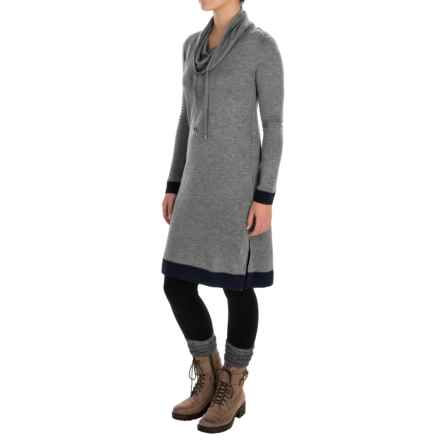 Cable & Gauge Drawstring Cowl Neck Dress - Long Sleeve (For Women) in Navy/Heather Grey - Overstock