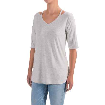 Cable & Gauge Drop Shoulder Tunic Shirt - Elbow Sleeve (For Women) in Light Heather Grey - Closeouts