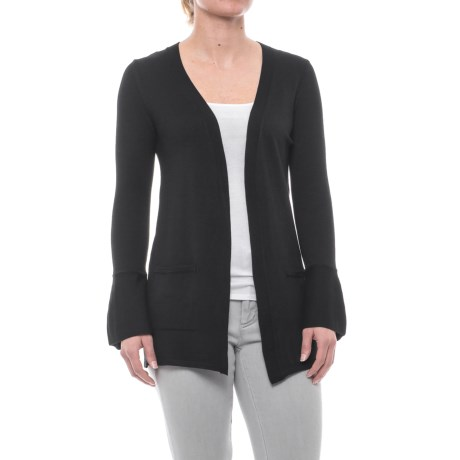Cable & Gauge Flare Cardigan Sweater (For Women) in Black