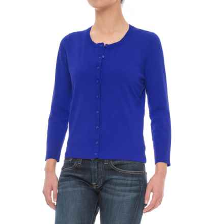 Cable & Gauge Grosgrain Trim Cardigan Sweater (For Women) in Angel Fish Blue - Closeouts