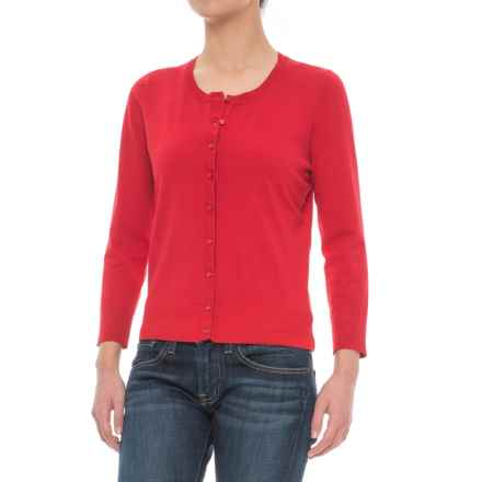 Cable & Gauge Grosgrain Trim Cardigan Sweater (For Women) in Sailor Red - Closeouts