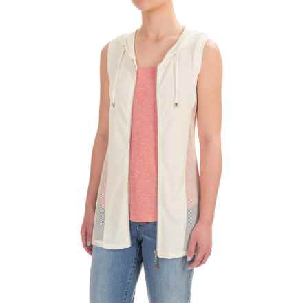 Cable & Gauge High-Low Hoodie Vest - Viscose (For Women) in Ivory - Closeouts