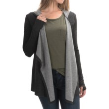 Cable & Gauge Hooded Cardigan Wrap - Long Sleeve (For Women) in Charcoal Heather/Black - Overstock