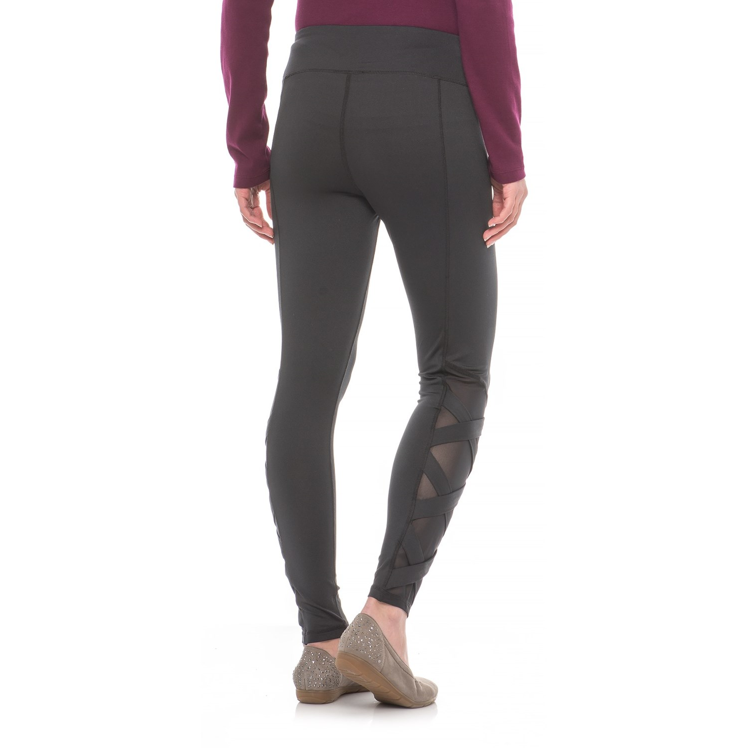 Cable & Gauge Mesh Hem Leggings (For Women) - Save 85%